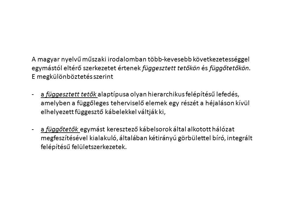 A magyar nyelvű műszaki irodalomban több-kevesebb következetességgel egymástól eltérő szerkezetet értenek függesztett tetőkön és függőtetőkön. E megkü