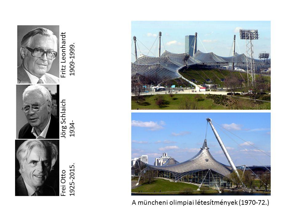 Frei Otto Jörg Schlaich Fritz Leonhardt 1925-2015. 1934- 1909-1999. A müncheni olimpiai létesítmények (1970-72.)