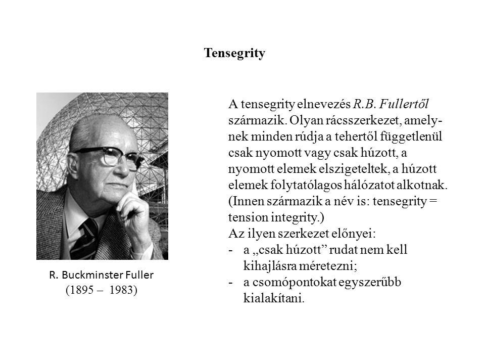 A tensegrity elnevezés R.B. Fullertől származik. Olyan rácsszerkezet, amely nek minden rúdja a tehertől függetlenül csak nyomott vagy csak húzott, a