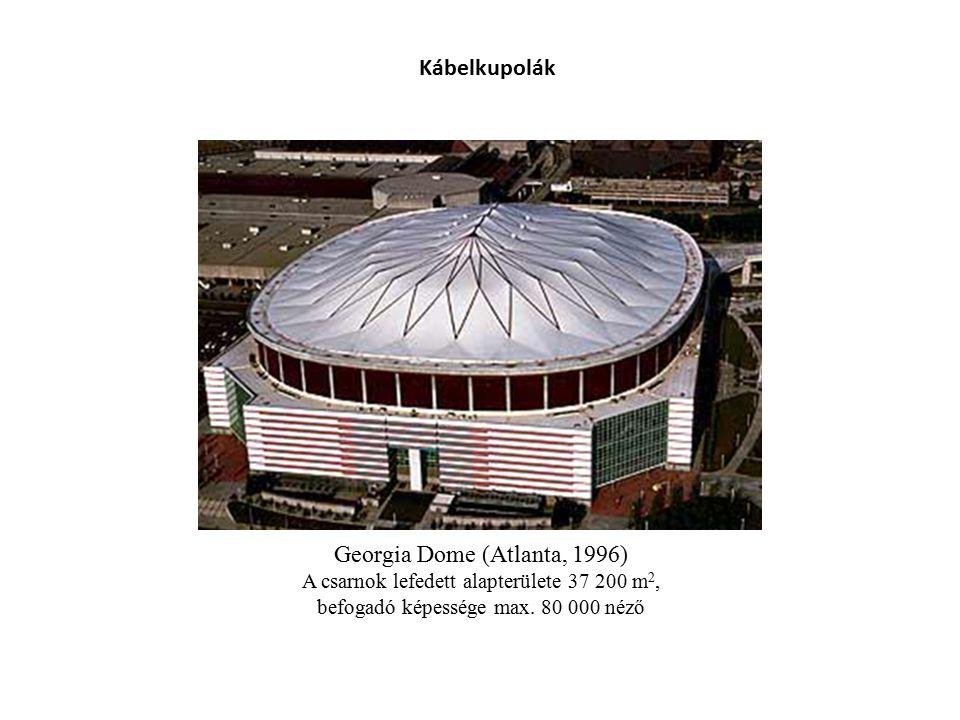Georgia Dome (Atlanta, 1996) A csarnok lefedett alapterülete 37 200 m 2, befogadó képessége max. 80 000 néző Kábelkupolák
