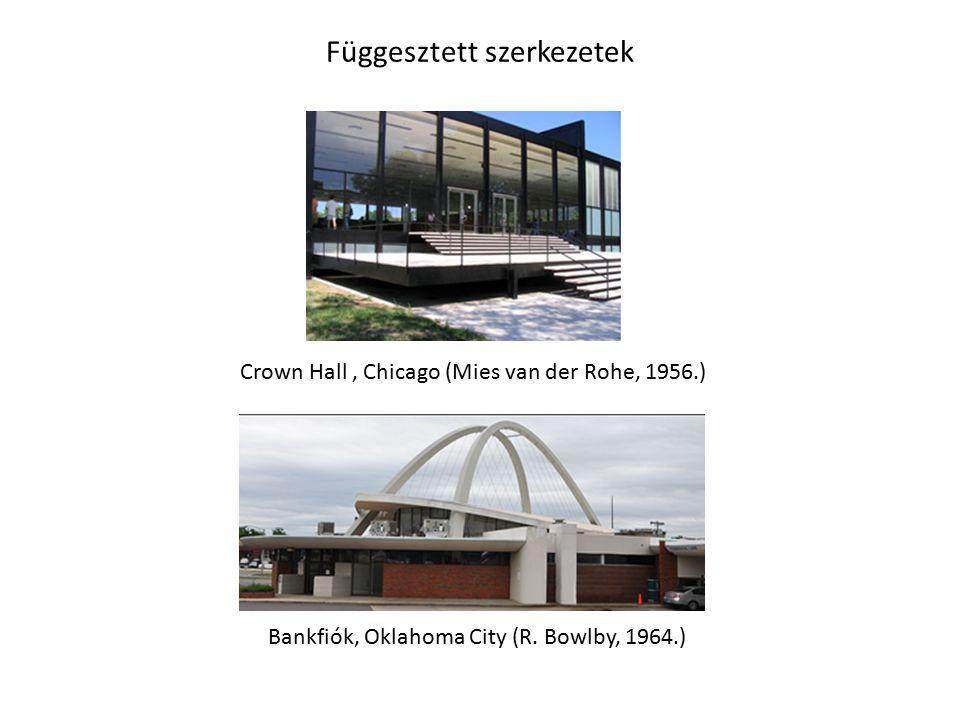 Függesztett szerkezetek Crown Hall, Chicago (Mies van der Rohe, 1956.) Bankfiók, Oklahoma City (R. Bowlby, 1964.)