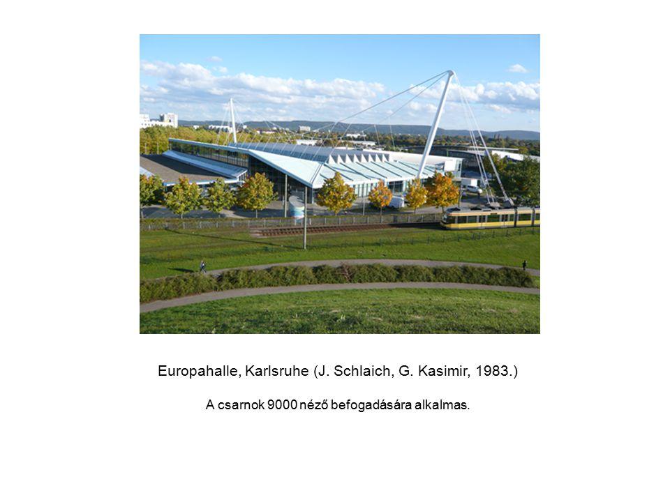 Europahalle, Karlsruhe (J. Schlaich, G. Kasimir, 1983.) A csarnok 9000 néző befogadására alkalmas.