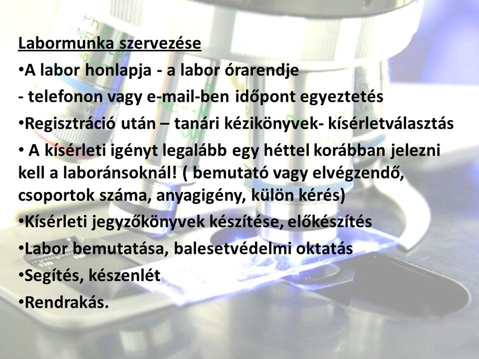 Labormunka szervezése A labor honlapja - a labor órarendje - telefonon vagy e-mail-ben időpont egyeztetés Regisztráció után – tanári kézikönyvek- kísé