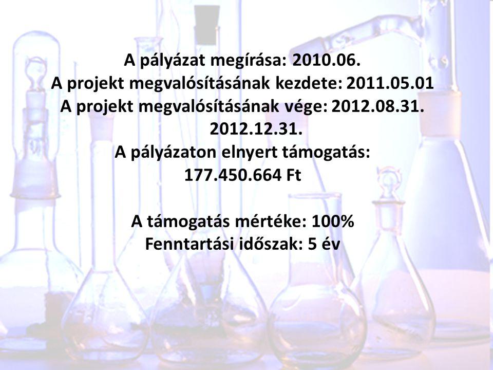 A pályázat megírása: 2010.06. A projekt megvalósításának kezdete: 2011.05.01 A projekt megvalósításának vége: 2012.08.31. 2012.12.31. A pályázaton eln