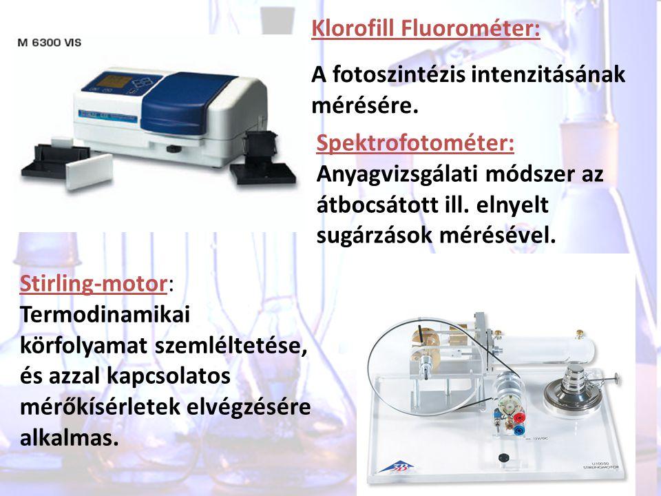 Klorofill Fluorométer: A fotoszintézis intenzitásának mérésére. Stirling-motor: Termodinamikai körfolyamat szemléltetése, és azzal kapcsolatos mérőkís