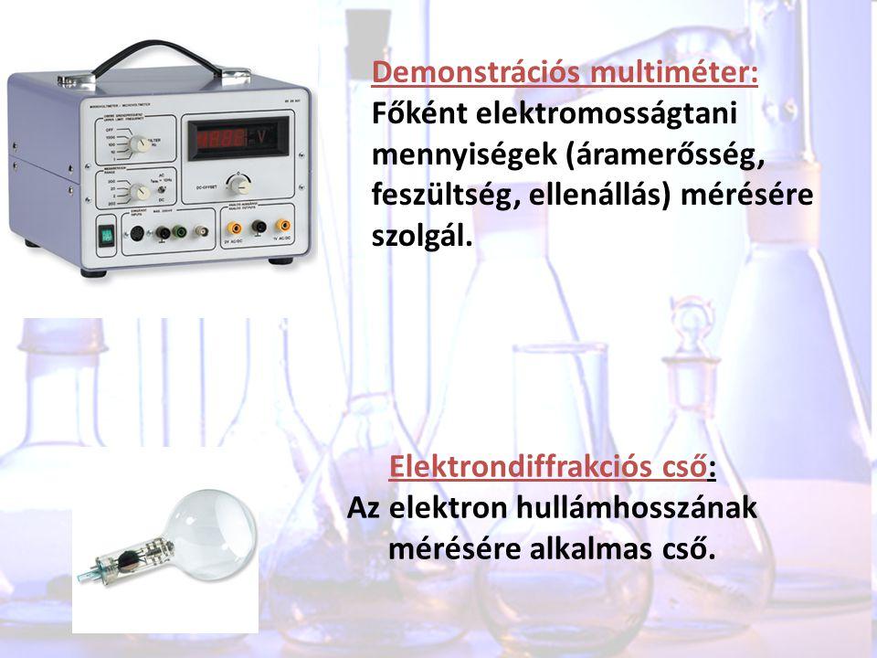 Demonstrációs multiméter: Főként elektromosságtani mennyiségek (áramerősség, feszültség, ellenállás) mérésére szolgál. Elektrondiffrakciós cső: Az ele