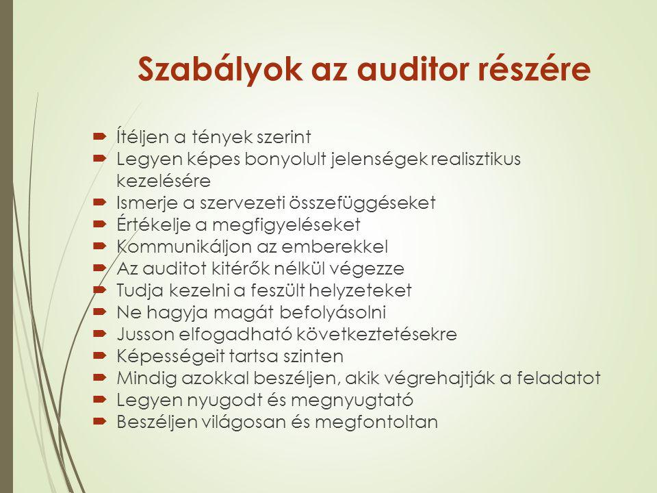 Szabályok az auditor részére  Ítéljen a tények szerint  Legyen képes bonyolult jelenségek realisztikus kezelésére  Ismerje a szervezeti összefüggés