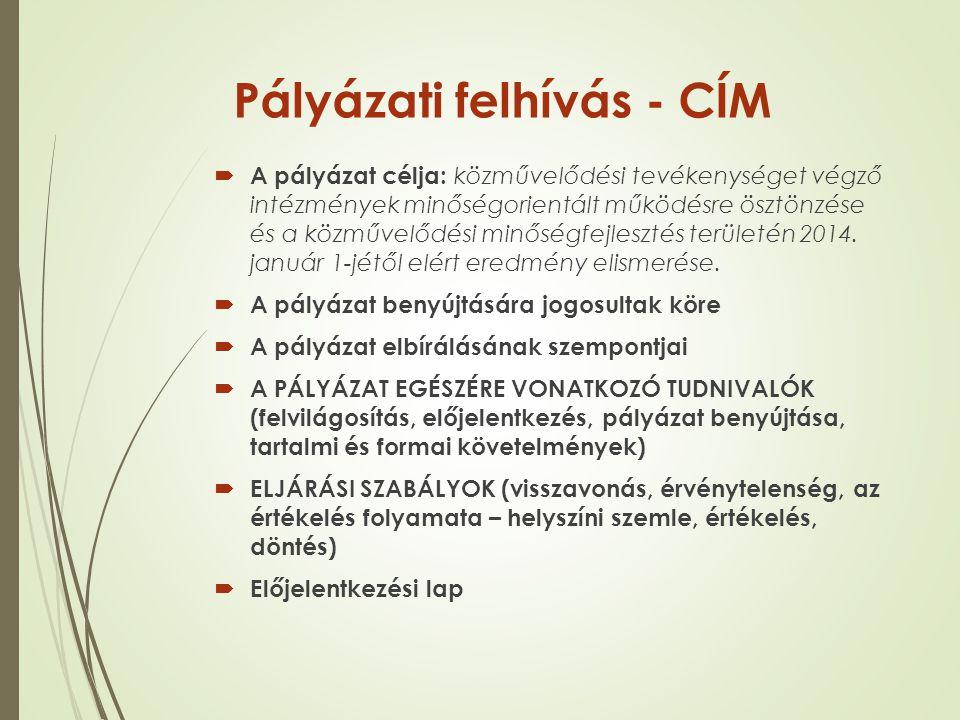 Pályázati felhívás - CÍM  A pályázat célja: közművelődési tevékenységet végző intézmények minőségorientált működésre ösztönzése és a közművelődési mi