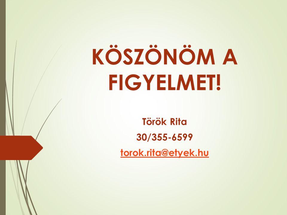 KÖSZÖNÖM A FIGYELMET! Török Rita 30/355-6599 torok.rita@etyek.hu