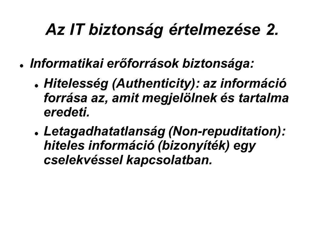 Az IT biztonság értelmezése 2. Informatikai erőforrások biztonsága: Hitelesség (Authenticity): az információ forrása az, amit megjelölnek és tartalma