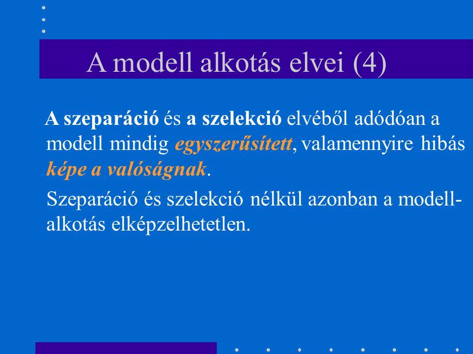 A modell alkotás elvei (4) A szeparáció és a szelekció elvéből adódóan a modell mindig egyszerűsített, valamennyire hibás képe a valóságnak. Szeparáci