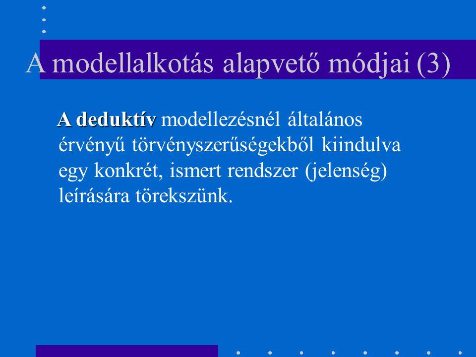 A modellalkotás alapvető módjai (3) A deduktív A deduktív modellezésnél általános érvényű törvényszerűségekből kiindulva egy konkrét, ismert rendszer