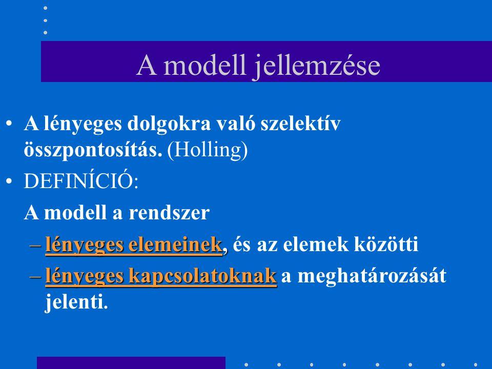 A modell jellemzése A lényeges dolgokra való szelektív összpontosítás. (Holling) DEFINÍCIÓ: A modell a rendszer –lényeges elemeinek, –lényeges elemein
