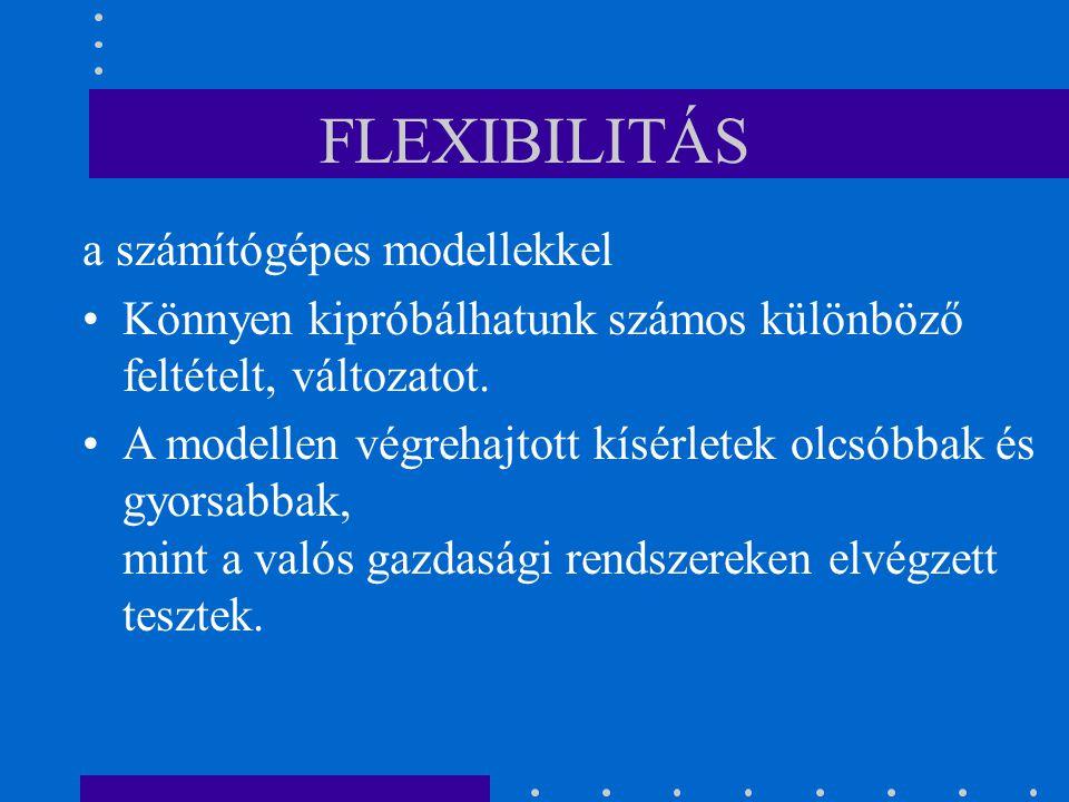 FLEXIBILITÁS a számítógépes modellekkel Könnyen kipróbálhatunk számos különböző feltételt, változatot. A modellen végrehajtott kísérletek olcsóbbak és