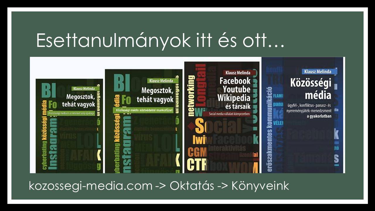 Esettanulmányok itt és ott… kozossegi-media.com -> Oktatás -> Könyveink