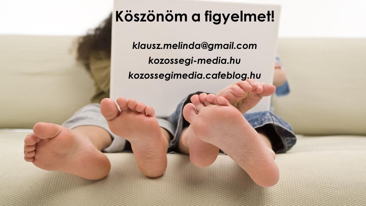 Köszönöm a figyelmet! klausz.melinda@gmail.com kozossegi-media.hu kozossegimedia.cafeblog.hu