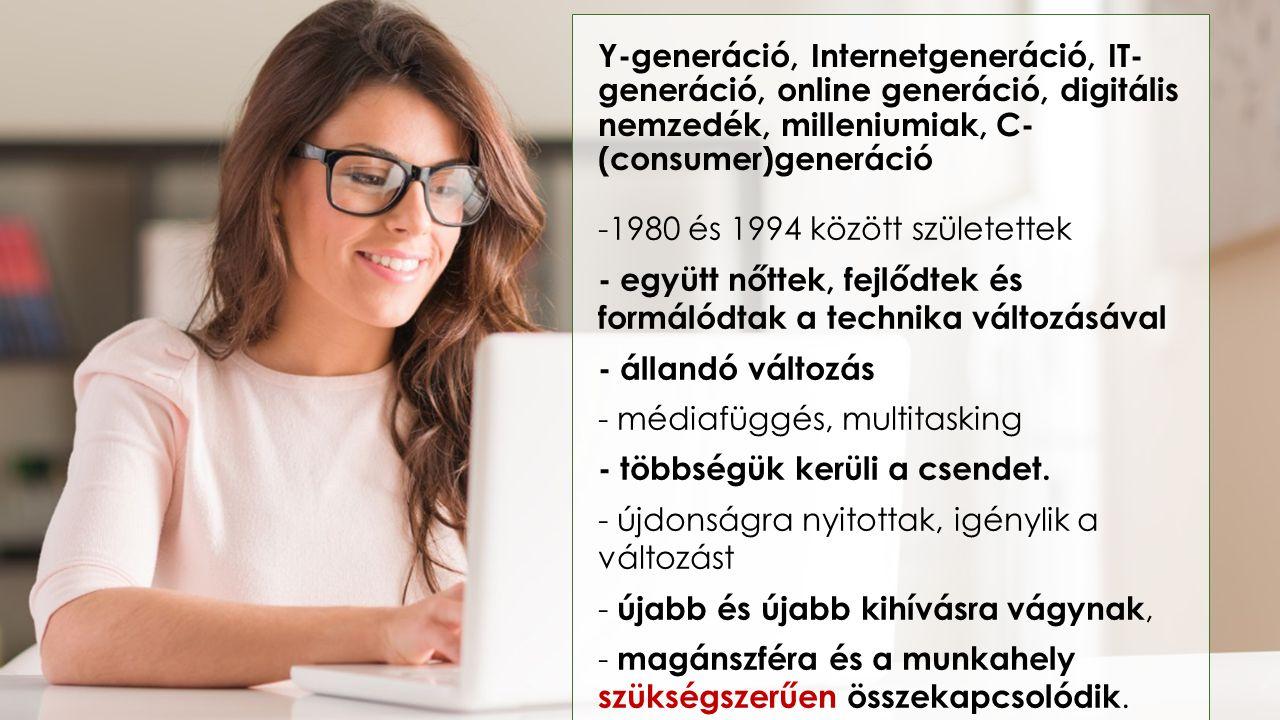 Y-generáció, Internetgeneráció, IT- generáció, online generáció, digitális nemzedék, milleniumiak, C- (consumer)generáció -1980 és 1994 között születe