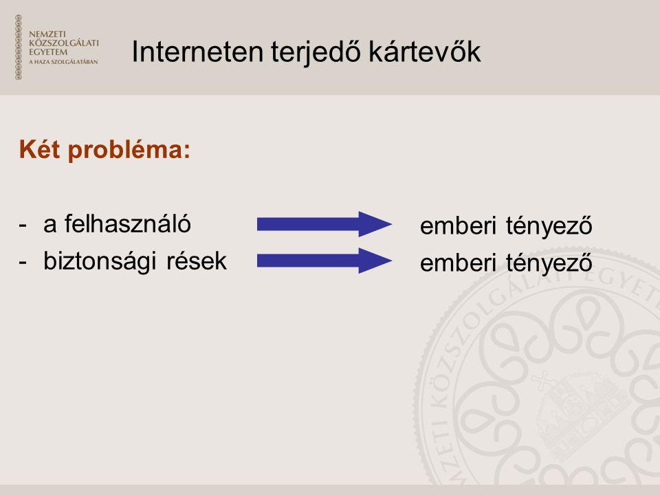 Interneten terjedő kártevők Két probléma: -a felhasználó -biztonsági rések emberi tényező