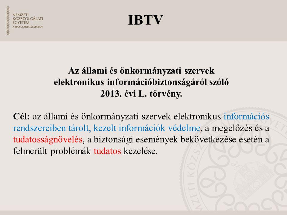 IBTV Az állami és önkormányzati szervek elektronikus információbiztonságáról szóló 2013. évi L. törvény. Cél: az állami és önkormányzati szervek elekt