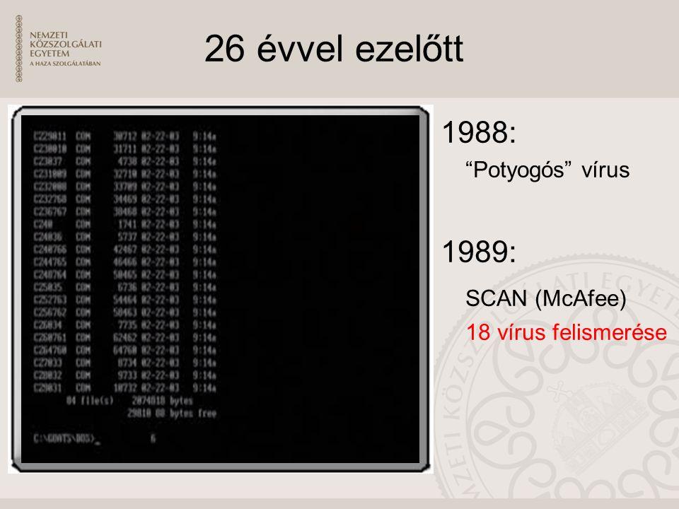 26 évvel ezelőtt 1988: Potyogós vírus 1989: SCAN (McAfee) 18 vírus felismerése