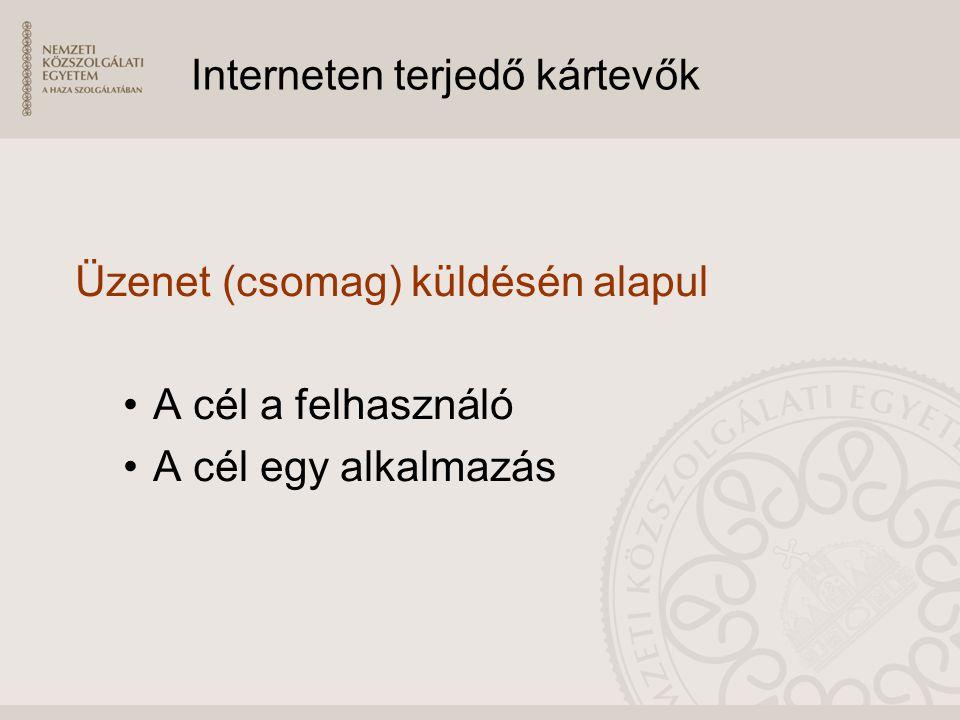 Interneten terjedő kártevők Üzenet (csomag) küldésén alapul A cél a felhasználó A cél egy alkalmazás