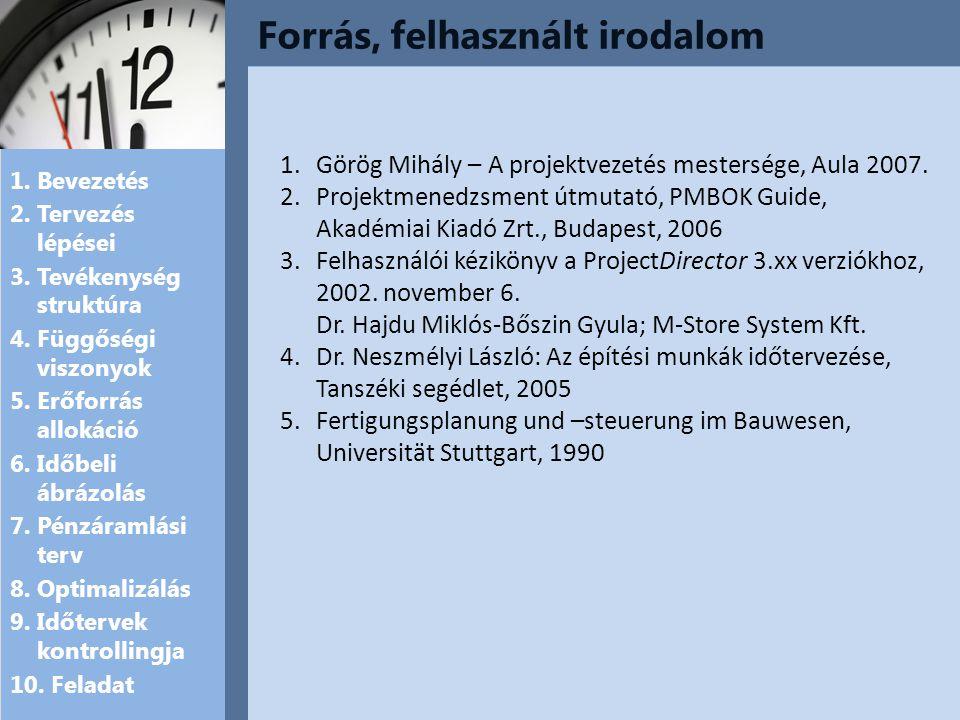 Forrás, felhasznált irodalom 1.Bevezetés 2. Tervezés lépései 3.