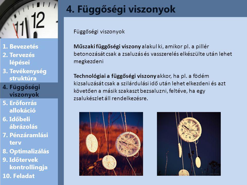 4.Függőségi viszonyok 1. Bevezetés 2. Tervezés lépései 3.