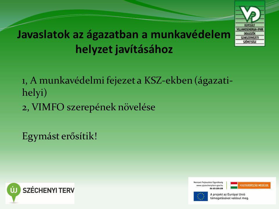 Javaslatok az ágazatban a munkavédelem helyzet javításához 1, A munkavédelmi fejezet a KSZ-ekben (ágazati- helyi) 2, VIMFO szerepének növelése Egymást erősítik!