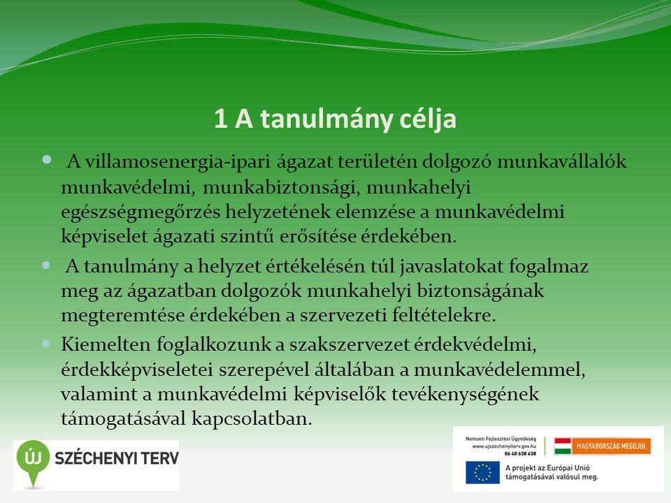 1 A tanulmány célja A villamosenergia-ipari ágazat területén dolgozó munkavállalók munkavédelmi, munkabiztonsági, munkahelyi egészségmegőrzés helyzeté