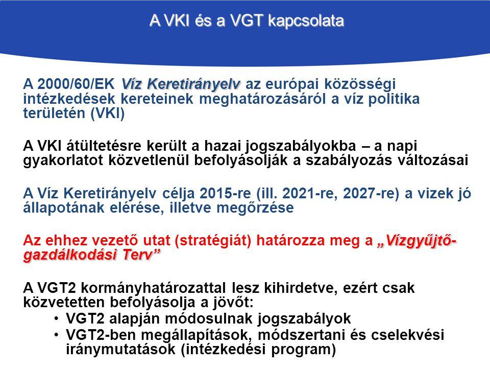 A VKI és a VGT kapcsolata Víz Keretirányelv A 2000/60/EK Víz Keretirányelv az európai közösségi intézkedések kereteinek meghatározásáról a víz politika területén (VKI) A VKI átültetésre került a hazai jogszabályokba – a napi gyakorlatot közvetlenül befolyásolják a szabályozás változásai A Víz Keretirányelv célja 2015-re (ill.