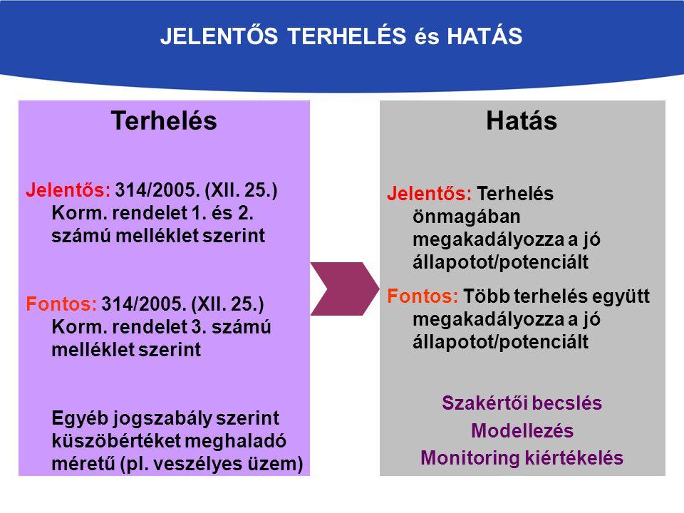 JELENTŐS TERHELÉS és HATÁS Terhelés Jelentős: 314/2005.