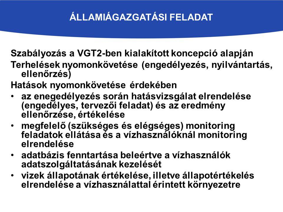 ÁLLAMIÁGAZGATÁSI FELADAT Szabályozás a VGT2-ben kialakított koncepció alapján Terhelések nyomonkövetése (engedélyezés, nyilvántartás, ellenőrzés) Hatások nyomonkövetése érdekében az enegedélyezés során hatásvizsgálat elrendelése (engedélyes, tervezői feladat) és az eredmény ellenőrzése, értékelése megfelelő (szükséges és elégséges) monitoring feladatok ellátása és a vízhasználóknál monitoring elrendelése adatbázis fenntartása beleértve a vízhasználók adatszolgáltatásának kezelését vizek állapotának értékelése, illetve állapotértékelés elrendelése a vízhasználattal érintett környezetre