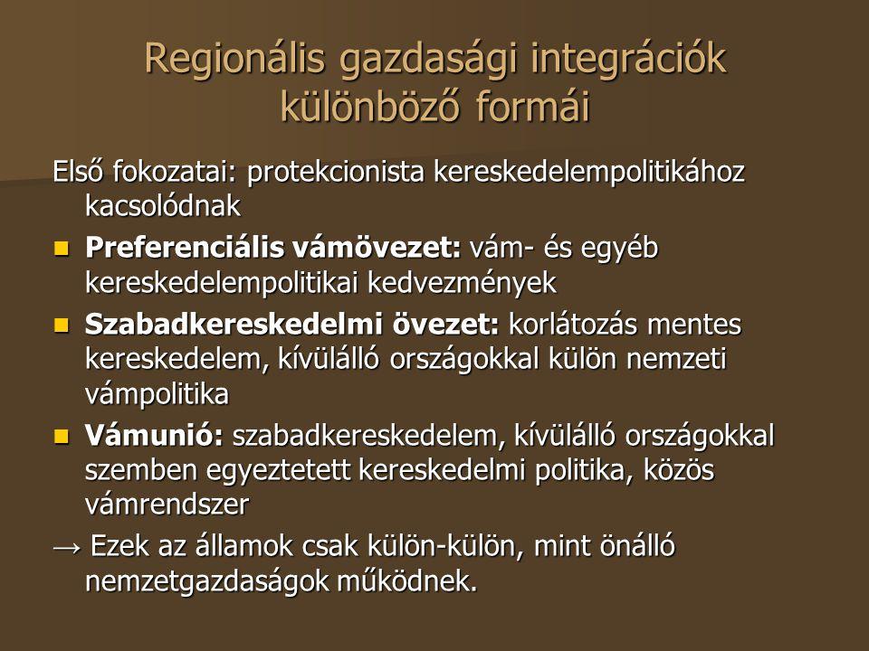 Regionális gazdasági integrációk különböző formái Első fokozatai: protekcionista kereskedelempolitikához kacsolódnak Preferenciális vámövezet: vám- és