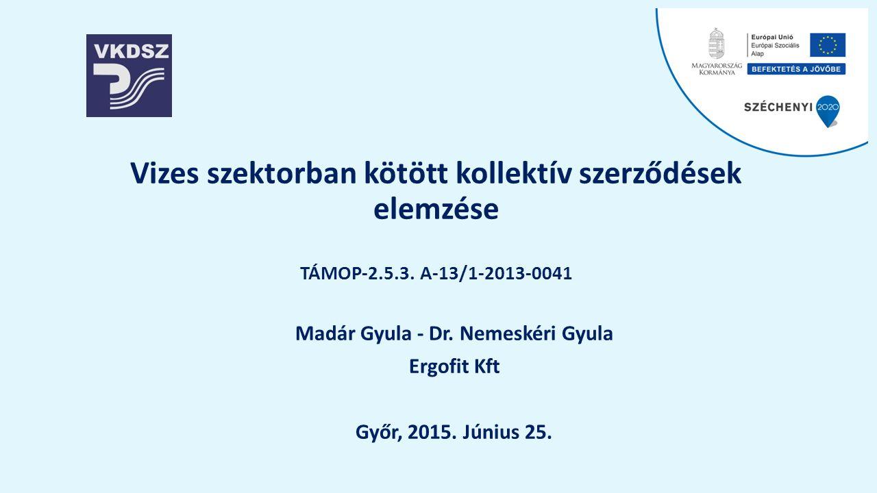 Vizes szektorban kötött kollektív szerződések elemzése TÁMOP-2.5.3.