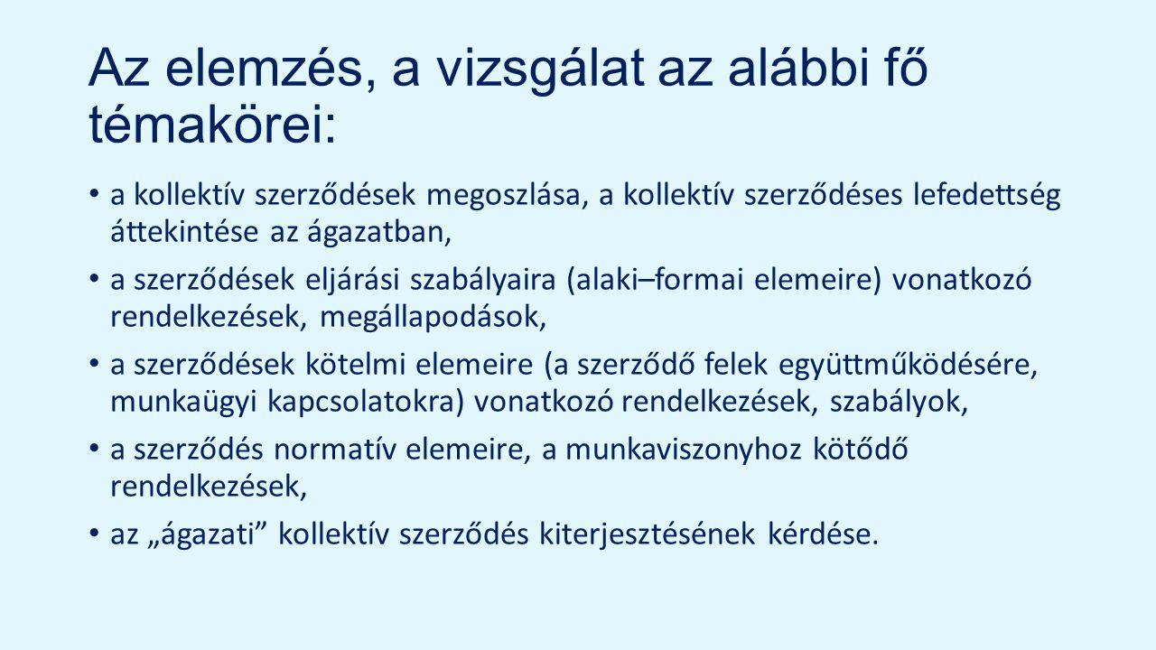 """Az elemzés, a vizsgálat az alábbi fő témakörei: a kollektív szerződések megoszlása, a kollektív szerződéses lefedettség áttekintése az ágazatban, a szerződések eljárási szabályaira (alaki–formai elemeire) vonatkozó rendelkezések, megállapodások, a szerződések kötelmi elemeire (a szerződő felek együttműködésére, munkaügyi kapcsolatokra) vonatkozó rendelkezések, szabályok, a szerződés normatív elemeire, a munkaviszonyhoz kötődő rendelkezések, az """"ágazati kollektív szerződés kiterjesztésének kérdése."""