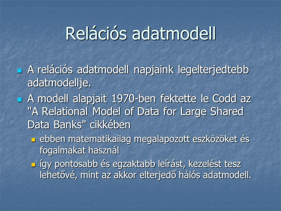 Relációs adatmodell A reláció szó eredetileg kapcsolatot jelent A reláció szó eredetileg kapcsolatot jelent a matematikában a reláció alatt több alaphalmaz Descartes szorzatának egy részhalmazát értjük a matematikában a reláció alatt több alaphalmaz Descartes szorzatának egy részhalmazát értjük A relációs modell fő erősségei: A relációs modell fő erősségei: rugalmas kapcsolati rendszer rugalmas kapcsolati rendszer egyszerű struktúra egyszerű struktúra hatékony lekérdező, kezelő műveleti rész hatékony lekérdező, kezelő műveleti rész