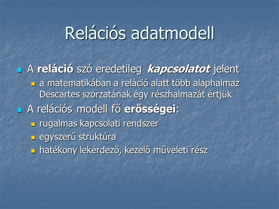 Relációs adatmodell A reláció szó eredetileg kapcsolatot jelent A reláció szó eredetileg kapcsolatot jelent a matematikában a reláció alatt több alaph