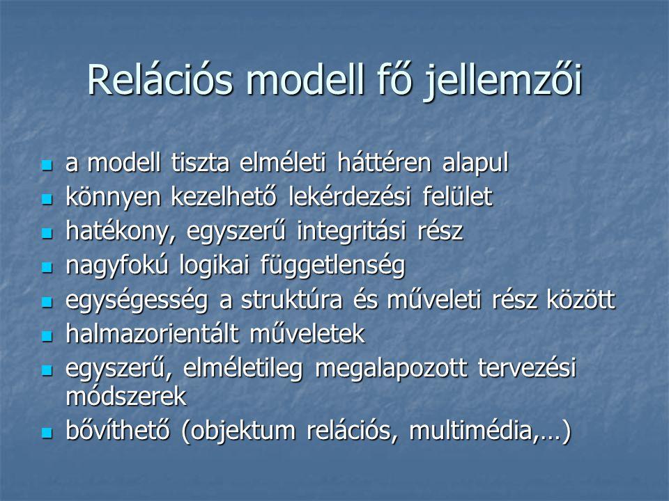 Relációs adatmodell szerkezeti elemei adatbázis adatbázis reláció (tábla) reláció (tábla) rekord (egyedelőfordulás, sor) rekord (egyedelőfordulás, sor) mező (tulajdonság, oszlop) mező (tulajdonság, oszlop)