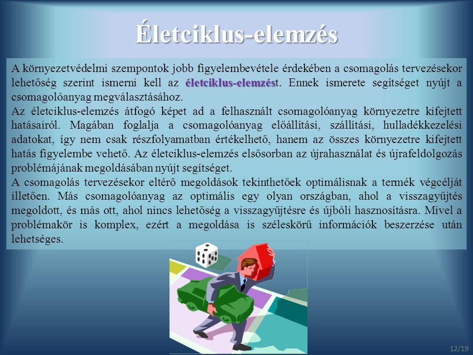 Életciklus-elemzés életciklus-elemzés A környezetvédelmi szempontok jobb figyelembevétele érdekében a csomagolás tervezésekor lehetőség szerint ismern