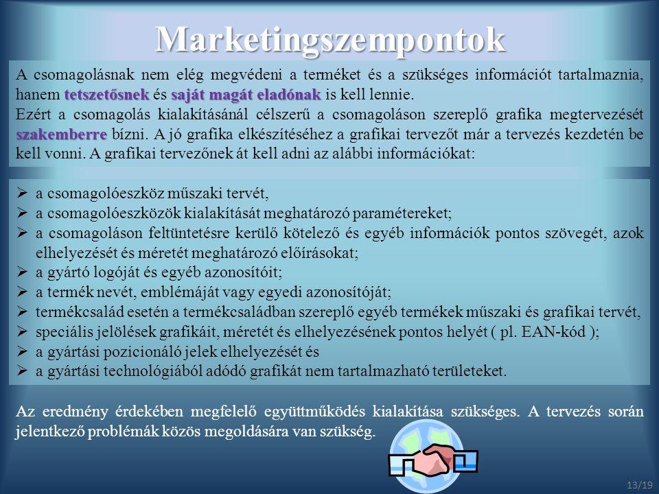 Marketingszempontok tetszetősneksaját magát eladónak A csomagolásnak nem elég megvédeni a terméket és a szükséges információt tartalmaznia, hanem tets