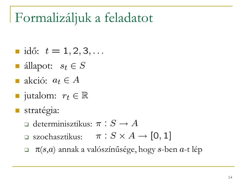 14 Formalizáljuk a feladatot idő: állapot: akció: jutalom: stratégia:  determinisztikus:  szochasztikus:   ( s, a ) annak a valószínűsége, hogy s -ben a -t lép