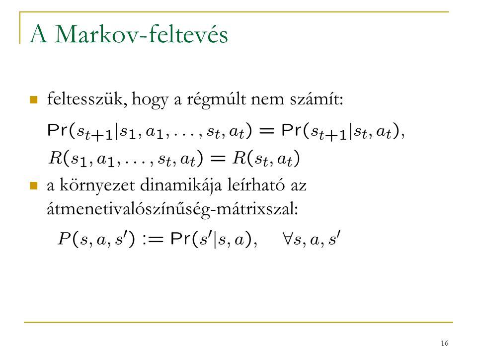 16 A Markov-feltevés feltesszük, hogy a régmúlt nem számít: a környezet dinamikája leírható az átmenetivalószínűség-mátrixszal: