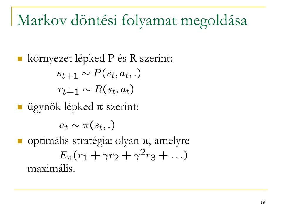 19 Markov döntési folyamat megoldása környezet lépked P és R szerint: ügynök lépked  szerint: optimális stratégia: olyan , amelyre maximális.