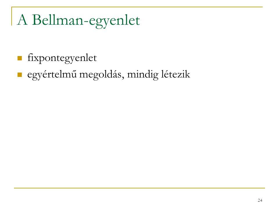 24 A Bellman-egyenlet fixpontegyenlet egyértelmű megoldás, mindig létezik