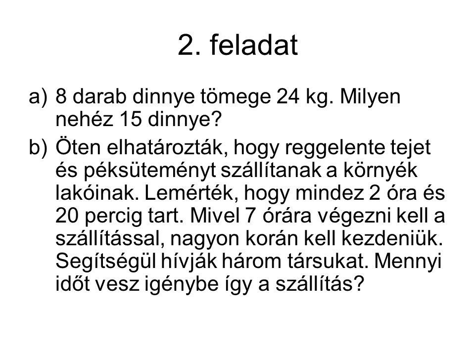 2. feladat a)8 darab dinnye tömege 24 kg. Milyen nehéz 15 dinnye? b)Öten elhatározták, hogy reggelente tejet és péksüteményt szállítanak a környék lak