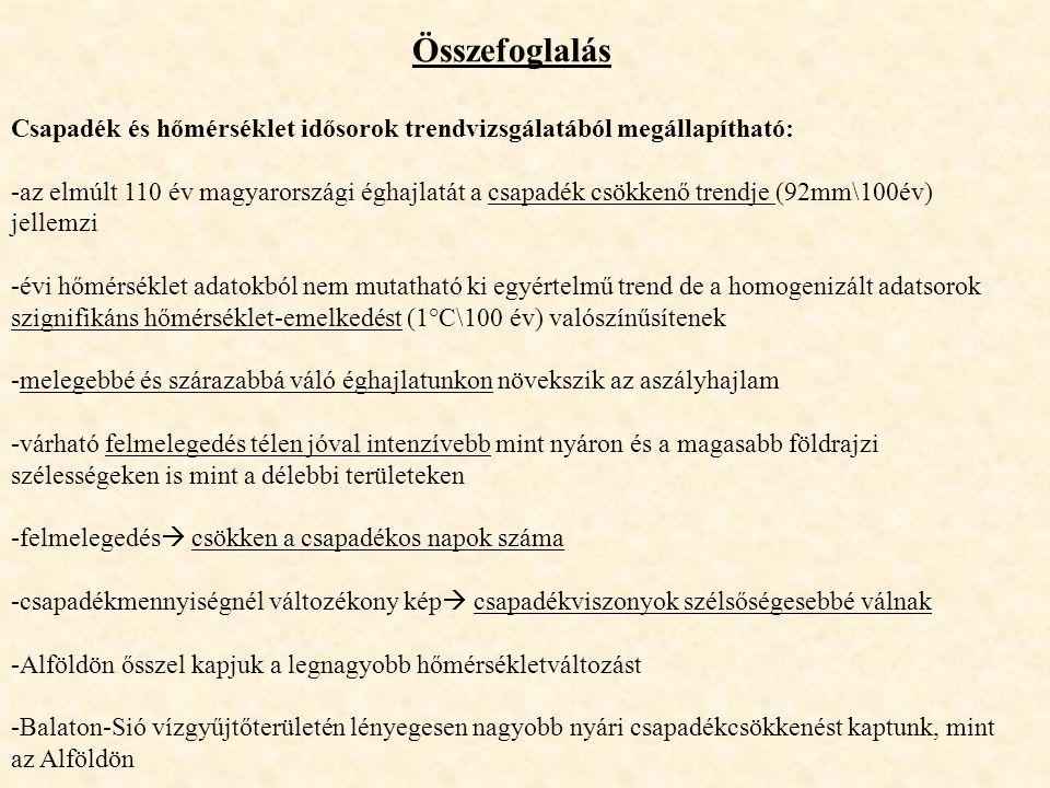 Összefoglalás Csapadék és hőmérséklet idősorok trendvizsgálatából megállapítható: -az elmúlt 110 év magyarországi éghajlatát a csapadék csökkenő trend