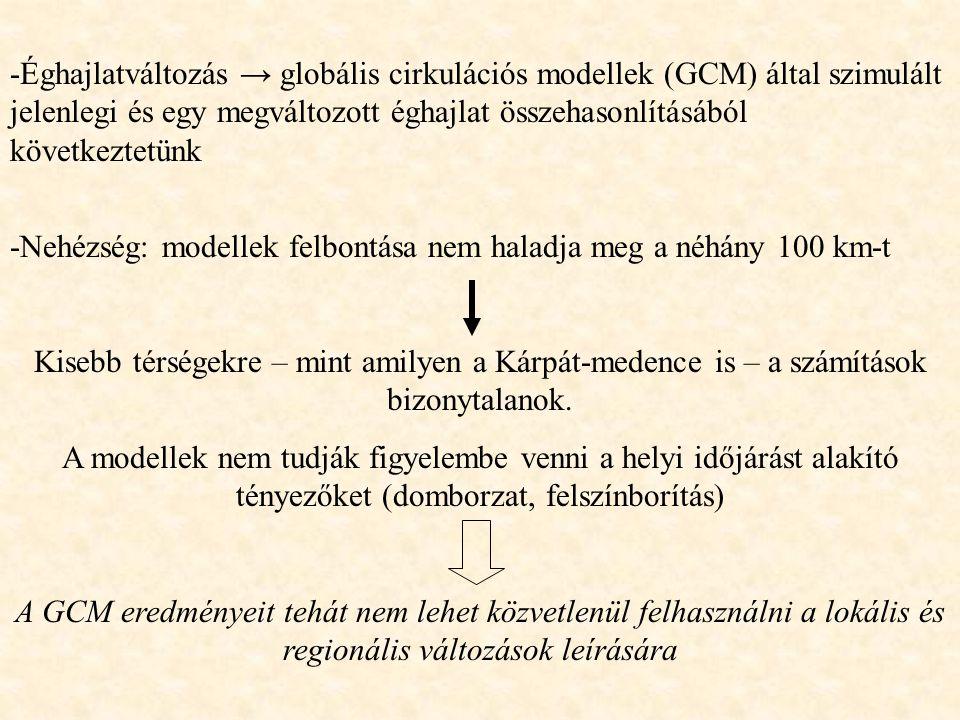 -Éghajlatváltozás → globális cirkulációs modellek (GCM) által szimulált jelenlegi és egy megváltozott éghajlat összehasonlításából következtetünk -Neh