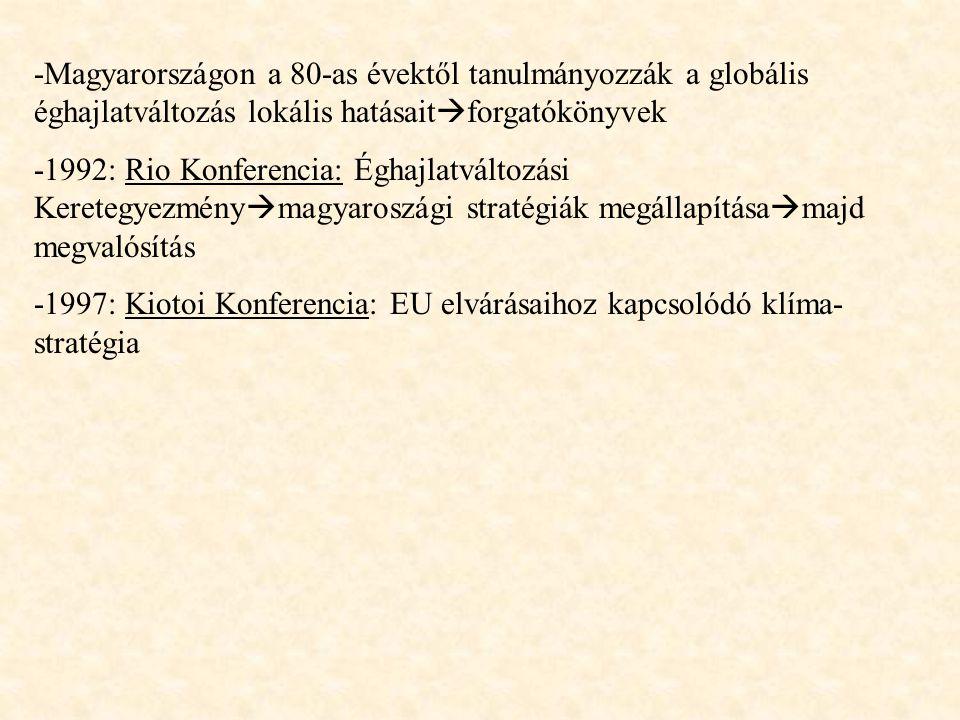 -Magyarországon a 80-as évektől tanulmányozzák a globális éghajlatváltozás lokális hatásait  forgatókönyvek -1992: Rio Konferencia: Éghajlatváltozási