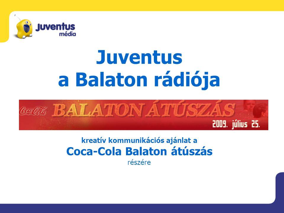 Juventus a Balaton rádiója kreatív kommunikációs ajánlat a Coca-Cola Balaton átúszás részére