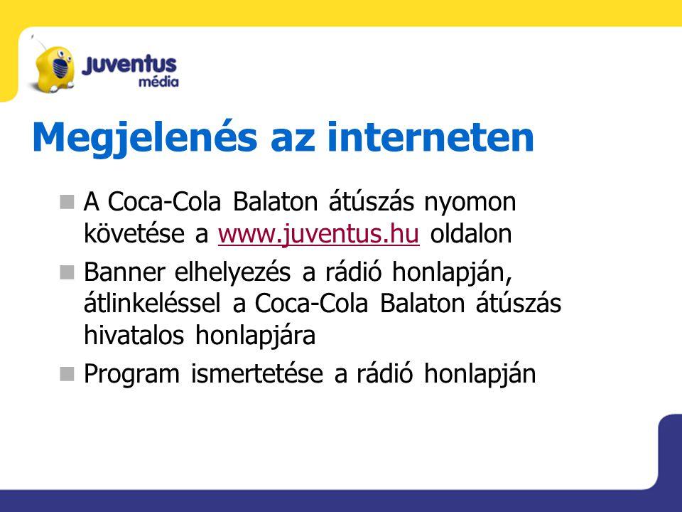 Megjelenés az interneten A Coca-Cola Balaton átúszás nyomon követése a www.juventus.hu oldalonwww.juventus.hu Banner elhelyezés a rádió honlapján, átl
